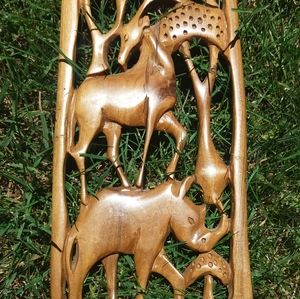 Wood Carved African Safari Animals Wall Plaque